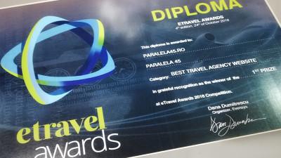Prologue semneaza un nou succes pentru Paralela 45 - Premiul 1 ETravel Awards - Best Travel Agency Website