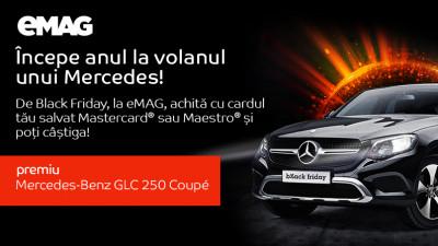 De Black Friday, achită la eMAG cu cardul tău salvat Mastercard® sau Maestro® și poți câștiga un Mercedes-Benz