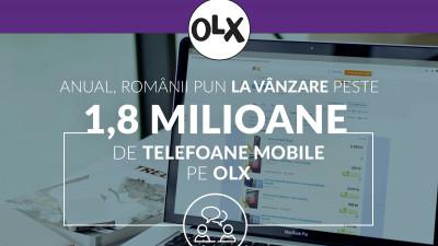 Românii scot la vânzare anual peste 1.8 milioane de telefoane mobile. 41.71% dintre utilizatorii OLX îsi vând telefonul pentru a-și cumpăra unul mai performat