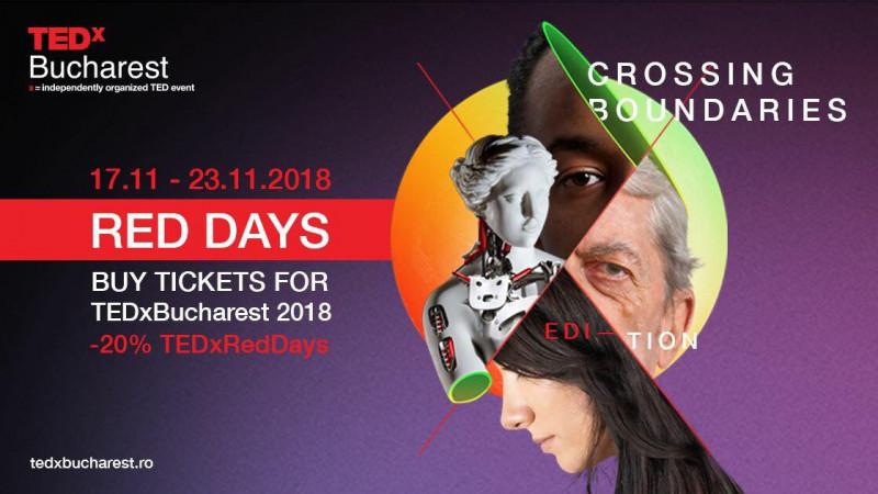 TEDxBucharest anunță că 22- 23 noiembrie devin Red Days, două zile cu discount de 20%