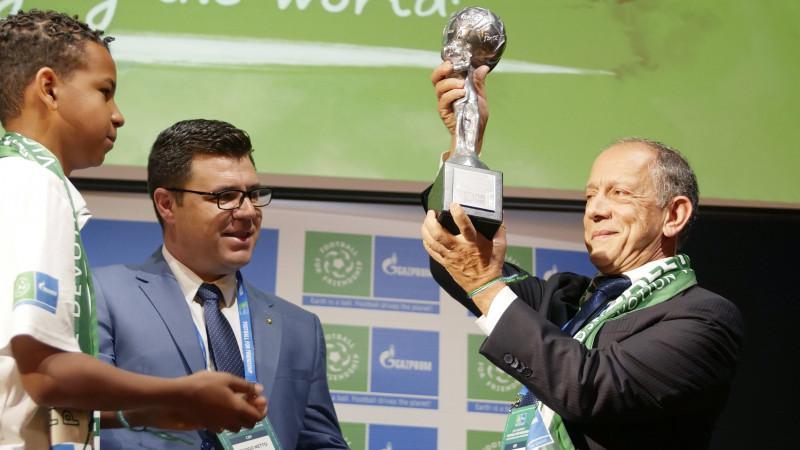 Echipa națională a Braziliei a primit anul acesta Cupa Celor Nouă Valori în cadrul programului Fotbal pentru Prietenie 2019