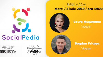 Eveniment gratuit pentru pasionații de online și digital. Vloggerii Laura Mușuroaea și Bogdan Pricope vin la SocialPedia 11