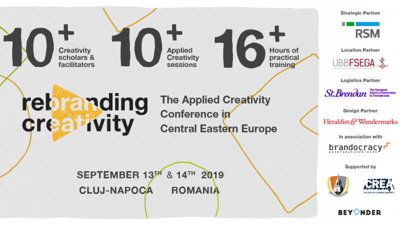 Rebranding Creativity 2019 - prima conferință de applied creativity și creative-problem-solving din Europa Centrală și de Est - se mută în Cluj-Napoca