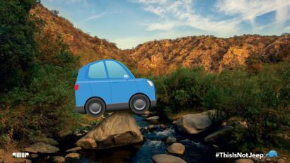 Lupta Jeep cu un emoji micuț și albastru