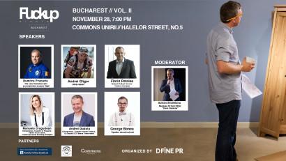 Doi antreprenori, un corporatist și trei profesioniști din sport, zona științifică respectiv divertisment intră în arena Fuckup Nights București vol II