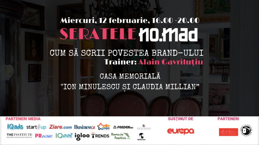 """Prima serată NO.MAD a anului va avea loc pe 12 februarie, în Casa Memorială """"Ion Minulescu și Claudia Millian"""""""