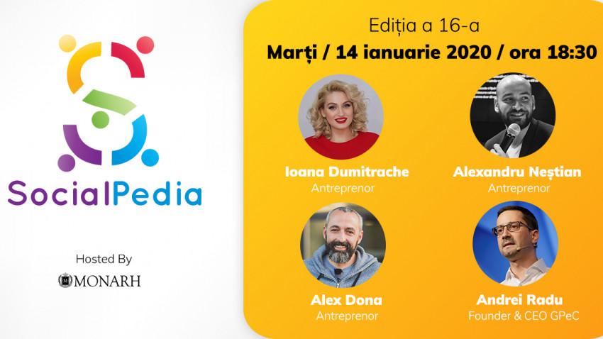 SocialPedia 16:Despre antreprenoriat și freelancing în online, cu Alex Dona, Alexandru Neștian, Ioana Dumitrache și Andrei Radu