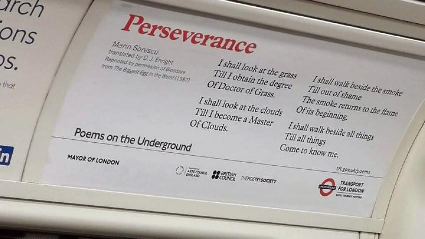 Poezii românești în metroul din Londra