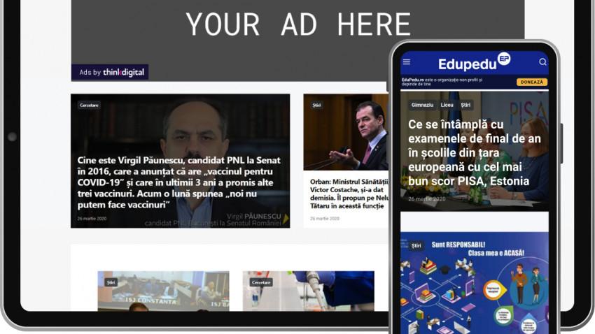 EduPedu.ro – publicație online dedicată educației cu peste 2.5 milioane de vizitatori unici lunar - se alătură rețelei Thinkdigital