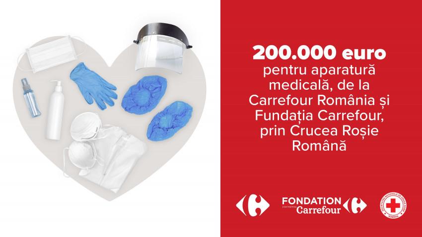 Carrefour România, prin Fundația Carrefour, donează 200.000 EUR către Crucea Roșie Română, pentru dotarea cu echipamente medicale a spitalelor din țară, aflate în prima linie în lupta cu Covid-19