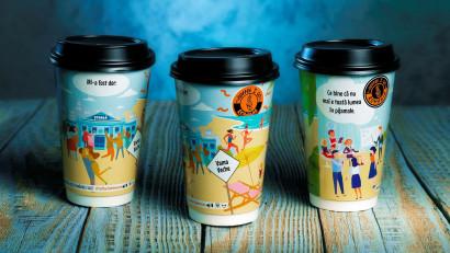 """""""Coffee 2 Go"""" surprinde simbolic """"dorul"""" din perioada de izolare printr-o ilustrație pe paharele de cafea"""