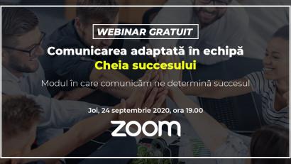 Webinar Gratuit:Comunicarea adaptată în echipă - Cheia succesului