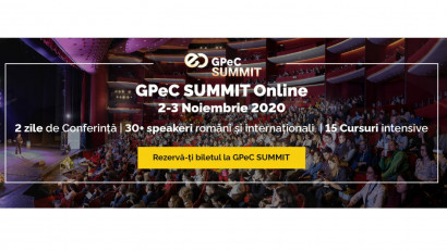 GPeC SUMMIT 2-3 Noiembrie are loc exclusiv online: 2 zile de Conferință, 15 Cursuri Intensive de E-Commerce & Digital Marketing, 30+ speakeri, 38+ ore de conținut practic