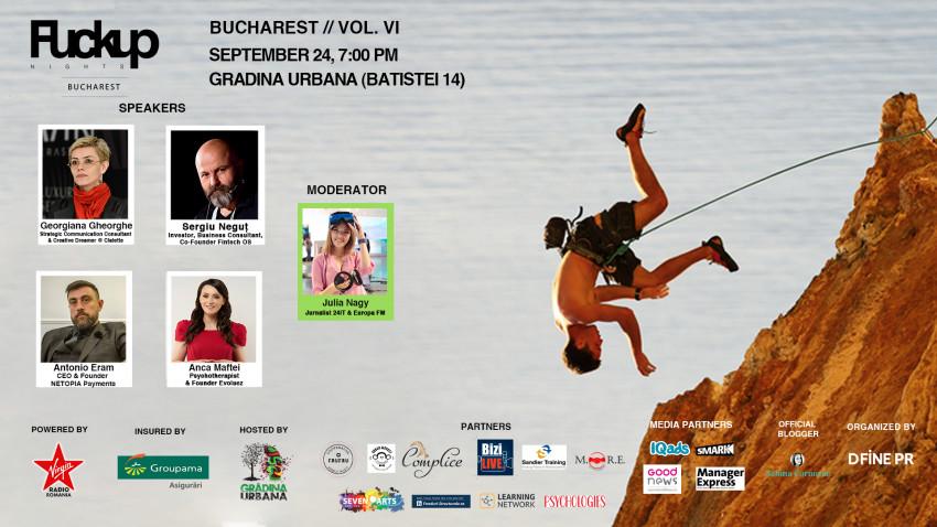 4 antreprenori – Fintech OS, NETOPIA PAYMENTS, Clatette și Evoluez – vorbesc despre propriile escalade profesionale la Fuckup Nights București, ediția a VI-a