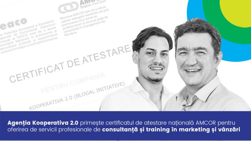 Agenția Kooperativa 2.0 primește certificatul de atestare națională AMCOR pentru oferirea de servicii profesionale de consultanță și training în marketing și vânzări