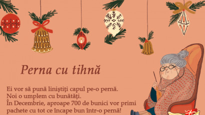"""Asociația Zi de Bine dă start proiectului """"Perna cu tihnă"""" și va pregăti în luna decembrie 700 de pachete, pentru 700 de bunici, cu tot ce încape într-ofață de pernă"""