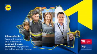 Pentru al cincilea an consecutiv, Lidl obține certificarea Top Employer și înregistrează cele mai bune performanțe la categoriile leadership și sustenabilitate