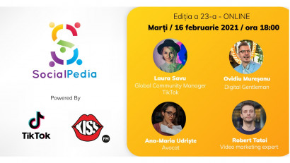 SocialPedia 23:Despre TikTok în 2021 cu Laura Savu, Ovidiu Mureșanu, Ana-Maria Udriște și Robert Tatoi