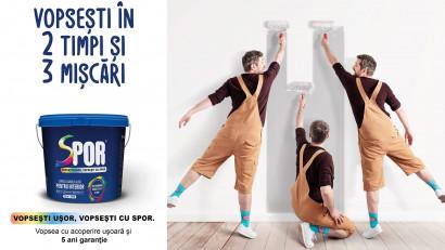 Prima vopsea lavabilă din România, SPOR, dă startul unei noi campanii TV: ORA DE SPOR
