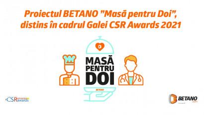 """Proiectul BETANO """"Masă pentru Doi"""", distins în cadrulGalei Romanian CSR Awards 2021"""