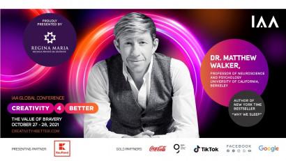 """Breaking News!Star Speaker Dr. Mathew Walker se alătură """"Creativity4Better"""" 2021"""
