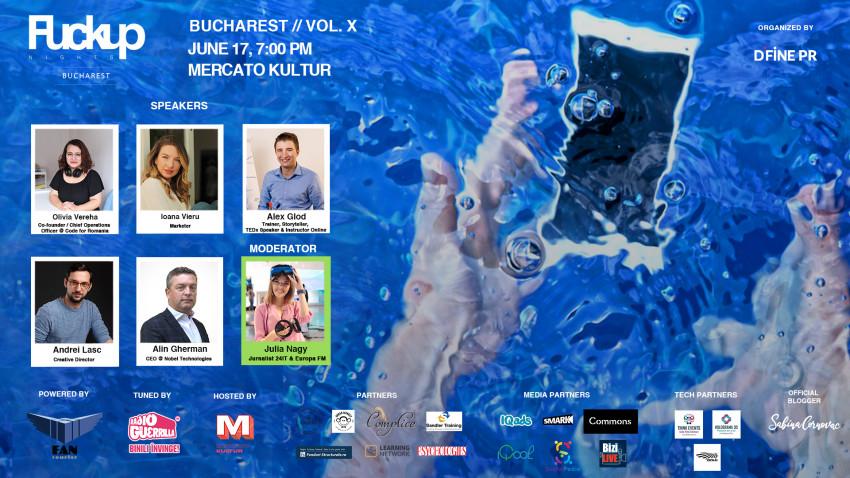 Alin Gherman - CEO Nobel Technologies, Olivia Vereha - co-fondator Code for Romania, Alex Glod - storyteller și speaker TEDx, Ioana Vieru- Marketer, Andrei Lasc - director de creație la Cu Substrat – vin la FUN X